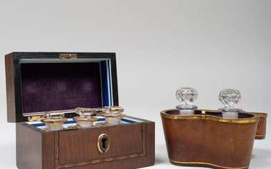 Two Sets of Gilt-Decorated Glass Scent Bottles in Cases