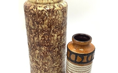 Two West German pottery vases in brown glazes, largest measu...