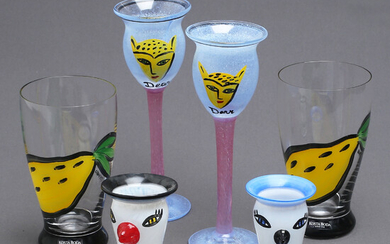 ULRICA HYDMAN-VALLIEN. 6 parts, glass, 2 cups, 2 glasses, 2 egg cups, Kosta Boda.