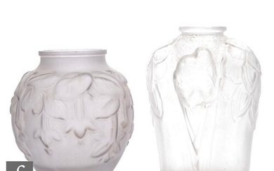 Unknown - A French Art Deco frosted glass vase, the moulded ...