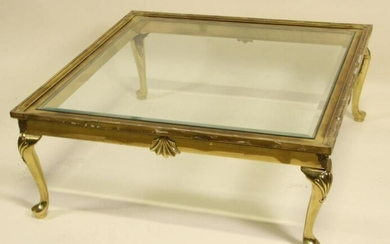 VINTAGE BAKER BRASS COFFEE TABLE WITH GLASS TOP