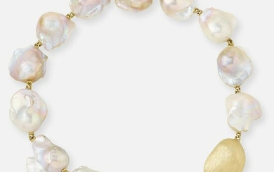 Yvel, Baroque cultured pearl and textured gold necklace