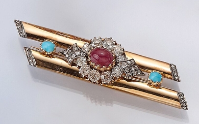 18 kt gold brooch with diamonds, ruby...