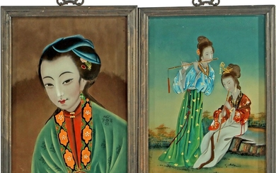 (-), 2 oriental wall decorations with behind glass...