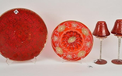 4 Red Murano Glass Articles with Gilt Decoration