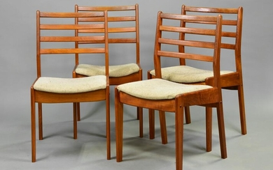 4 Tall Mid Century Modern Ladder Back Dining Chairs