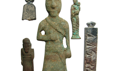 5 Near Eastern-style replica bronze and stone objects