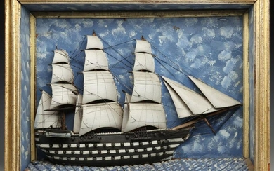 A 19TH C. DIORAMA WITH ARMED SHIP HAVING 54 CANNONS