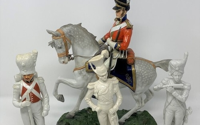 A Capo Di Monti figure, of a military officer on horseback, ...