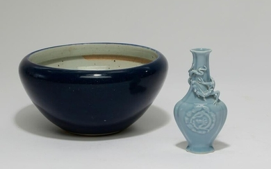 A Chinese blue vase and a blue bowl