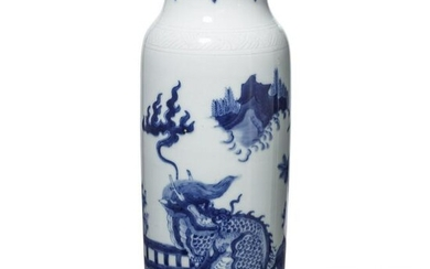 A Chinese white-and-blue vase, early 20th century