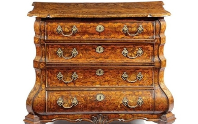 A DUTCH WALNUT AND MARQUETRY CHEST LATE 18TH / EARLY 19TH CENTURY of bombe form,...