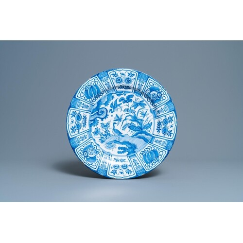 A Dutch Delft blue and white Wanli-style chinoiserie dish, l...