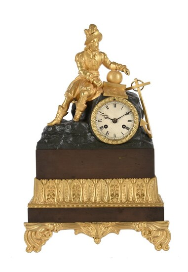 A FRENCH LOUIS PHILIPPE GILT AND PATINATED BRONZE FIGURAL MANTEL CLOCK