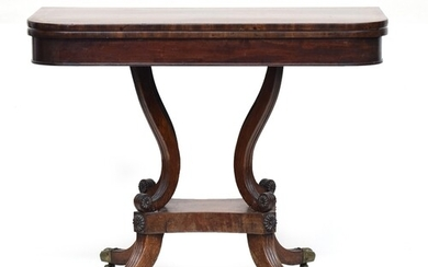 A Georgian mahogany card table, swivel top, with brass acant...