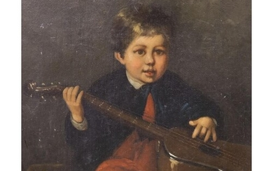 A. Gilbert (19th C.), oil on canvas, Portrait of a boy hold...