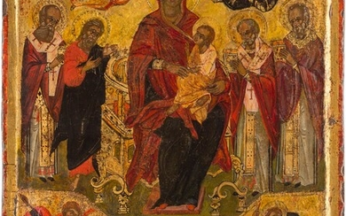 A LARGE ICON SHOWING THE ENTHRONED MOTHER OF GOD AND...