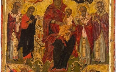 A LARGE ICON SHOWING THE ENTHRONED MOTHER OF GOD...