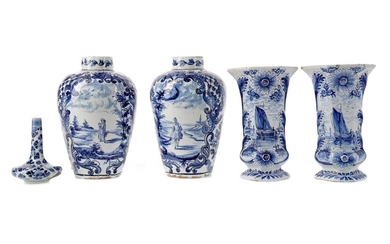 A LATE 19TH CENTURY DUTCH DELFTWARE BLUE & WHITE SOLIFLEUR VASE, ALONG WITH TWO PAIRS OF VASES
