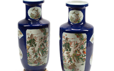 A PAIR OF CHINESE FAMILLE VERTE AND BLEU SOUFFLE GROUND PORCELAIN VASES