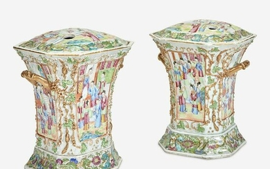 A Pair of Chinese Export Famille Rose Porcelain Covered