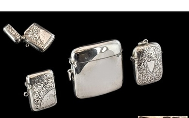 A Small Collection of Sterling Silver Hinged Vesta Cases, Va...