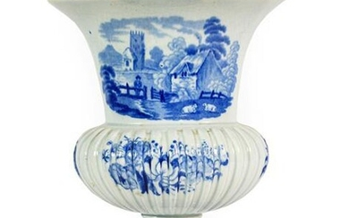A Staffordshire Pearlware Urn Shaped Vase, circa 1820, of oval...