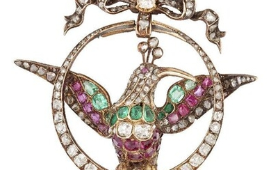 A late 19th century diamond and gem brooch, modelled as a humming bird, the rose-cut diamond head with cabochon ruby eyes to old and rose-cut diamond and vari-shaped emerald and ruby wings, body and tail, perched on a graduated old and rose-cut...