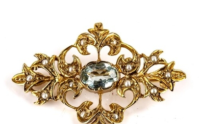 A late 20th century 9ct gold blue topaz and split-pearl broo...