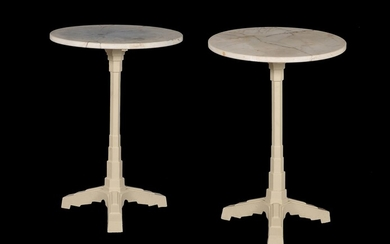 A pair of Art Deco marble and cast iron occasional tables