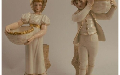 A pair of Royal Worcester figures, of a boy and a girl carry...