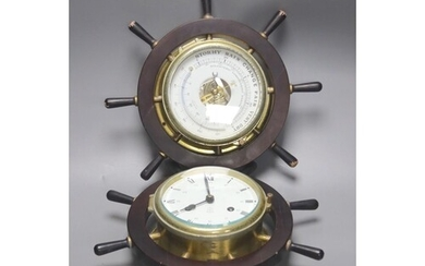 A pair of Schatz marine style wall hanging instruments: a cl...