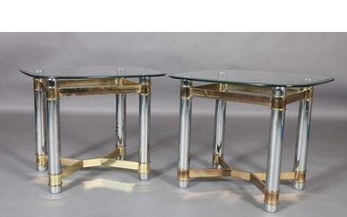 A pair of glass, chrome and gilt metal lamp tables, square w...
