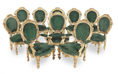 An Italian 19th century giltwood suite of 'palazzo' seat furniture comprising seven side chairs and three armchairs