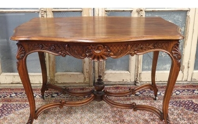Antique French Louis XV style centre table with X frame stre...