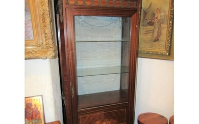 Antique Single Door Display Cabinet Marquetry Decorated with...