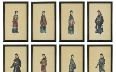Chinese Group Antique Figural Rice Paper Paintings
