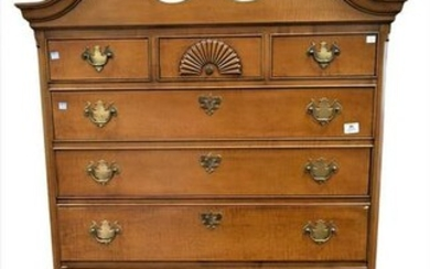 Chippendale Style Tiger Maple Highboy, height 75