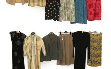 Circa 1940 and Later Ladies' Clothing, comprising a black short...