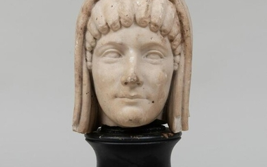 Continental Carved Marble Bust of a Greek Woman, After