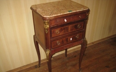 Early 20th Century Marble Top Kingwood Bedside Cabinet