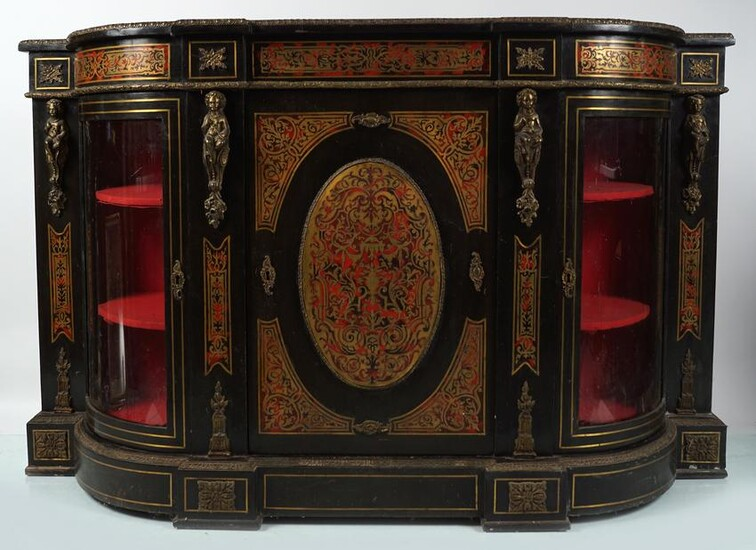 FRENCH BRASS AND TORTOISESHELL BOULLE CREDENZA