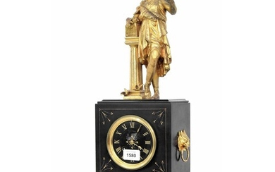 French black slate and gilt metal mounted figural two train ...