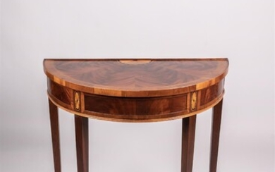 GEORGE III STYLE INLAID MAHOGANY DEMILUNE CONSOLE, BY HEKMAN FURNITURE CO.