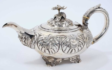 George IV silver teapot of compressed melon form, with panels of foliate decoration
