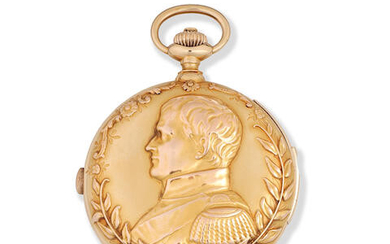 Girard Perregaux. A fine 18K gold keyless wind minute repeating chronograph full hunter pocket watch with Portrait of Napoleon