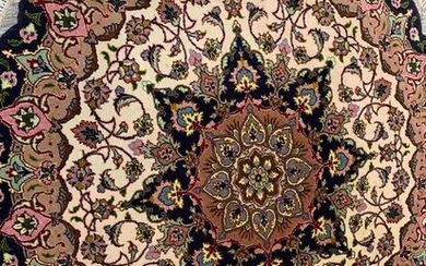 Hand Knotted Persian Tabriz Rug 3x3 ft