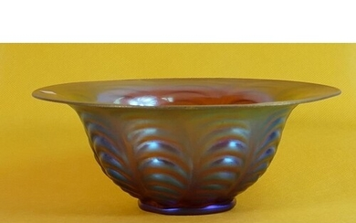Iridescent blue and gold glass bowl marked LCT to Base: Diam...