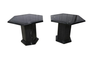 Marble Style Side Tables - Pair