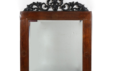 Mirror with Elizabethan mahogany frame with brass marquetry, second half of the 19th Century.